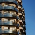 Building balconies on a blue sky — Stock Photo