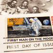 Vintage US stamp: first man on the moon — Stock Photo