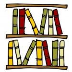 estantes con libros — Vector de stock