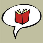 Otevřená kniha kreslený červené v textové bubliny — Stock vektor