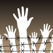 Hands behind a barbed wire prison - Stock Vector