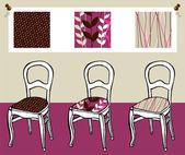 Tři čalouněné židle — Stock vektor