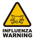 Warnig swine flu sign — Stock Vector