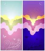 Set of sunset and sunrise banners — Stock Vector