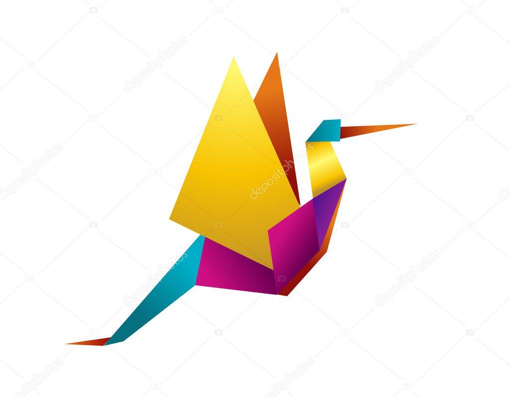 Levendige kleuren origami ooievaar — stockvector © cienpies #3522648