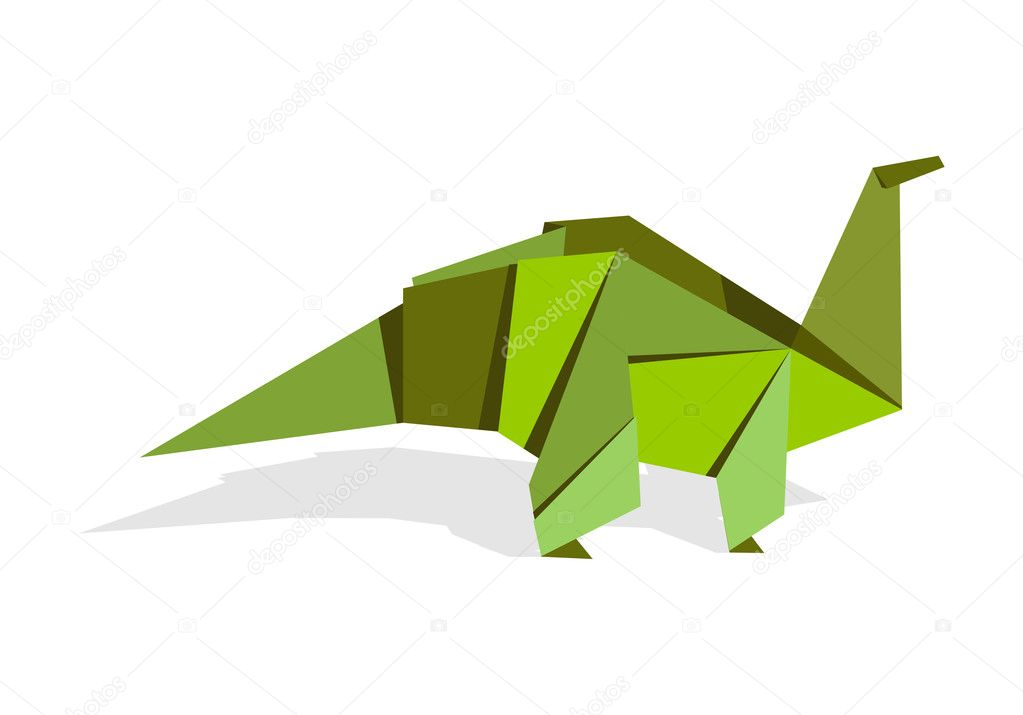 One Origami vibrant colors dinosaur. Vector file available. — Stock Vector #3522690