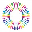 Colorful circled mandala cutlery restaurant. — Stock Vector