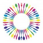 Colorful circled mandala cutlery restaurant. — Stock Vector