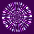 Stock Vector: Cutlery circle mandala pattern over violet.