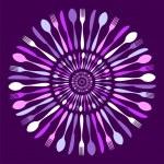 Cutlery circle mandala pattern over violet. — Stock Vector