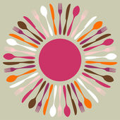 Colorful cutlery restaurant mandala — Stock Vector