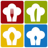 El restaurante chef icono conjunto patrón. — Vector de stock