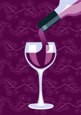 Wine bottle and glass composition background — Stock Vector