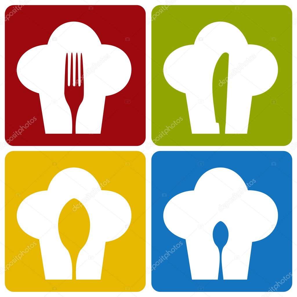 Chef icons. Chef hat silhouette pattern with cutlery inside on different background. Vector available.  Stockvectorbeeld #3677971