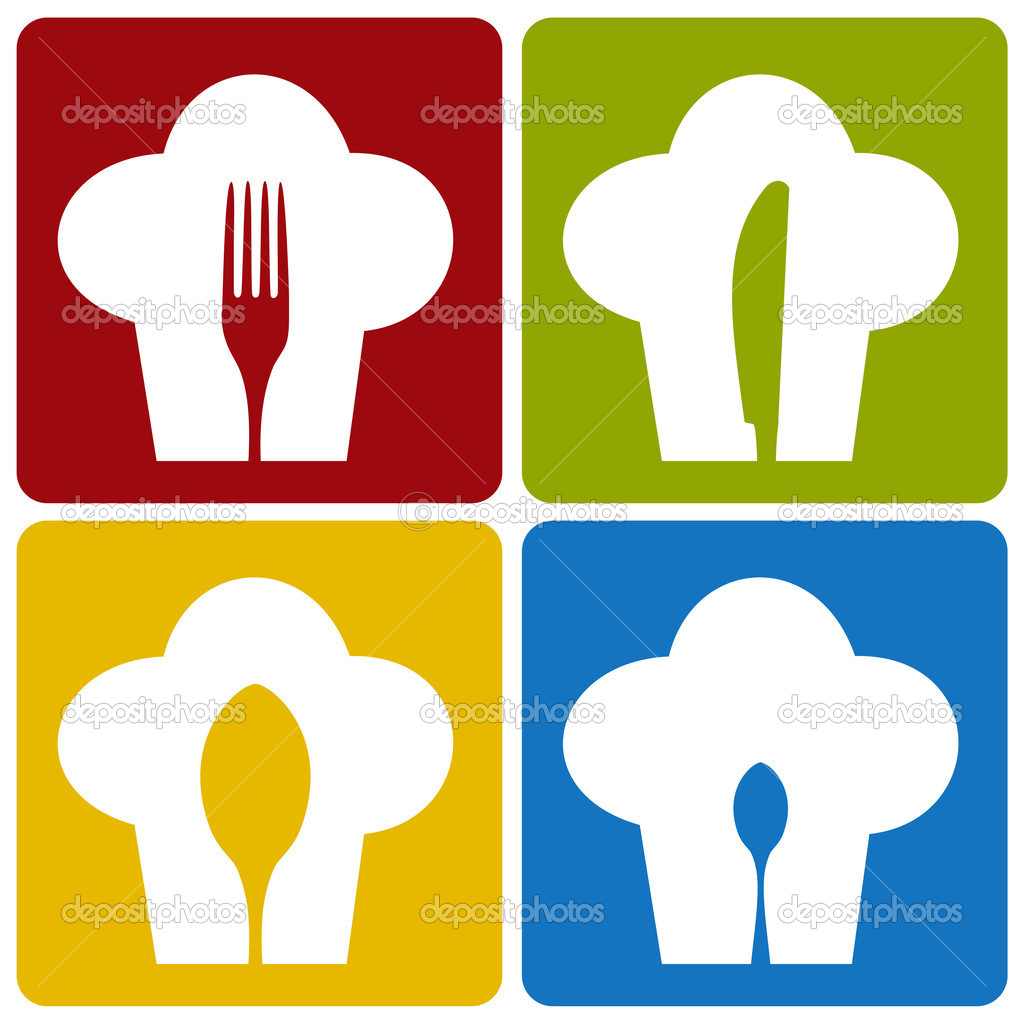 Chef icons. Chef hat silhouette pattern with cutlery inside on different background. Vector available. — Image vectorielle #3677971
