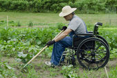 Handicapped man in his garden — Stock Photo