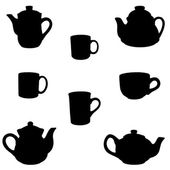 Teapots and cups silhouette — Stock Photo