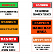 Industrial caution signs - Stock Photo