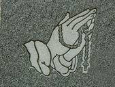 Praying hands and rosary — Stock Photo