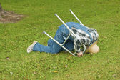 Man with a walker falling — Stock Photo