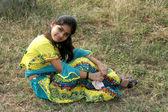 Girl on Grassy Field — Stock Photo