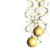 与卷曲丝带圣诞球 — 图库矢量图片