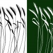 Stock Vector: Set of vector grass silhouettes