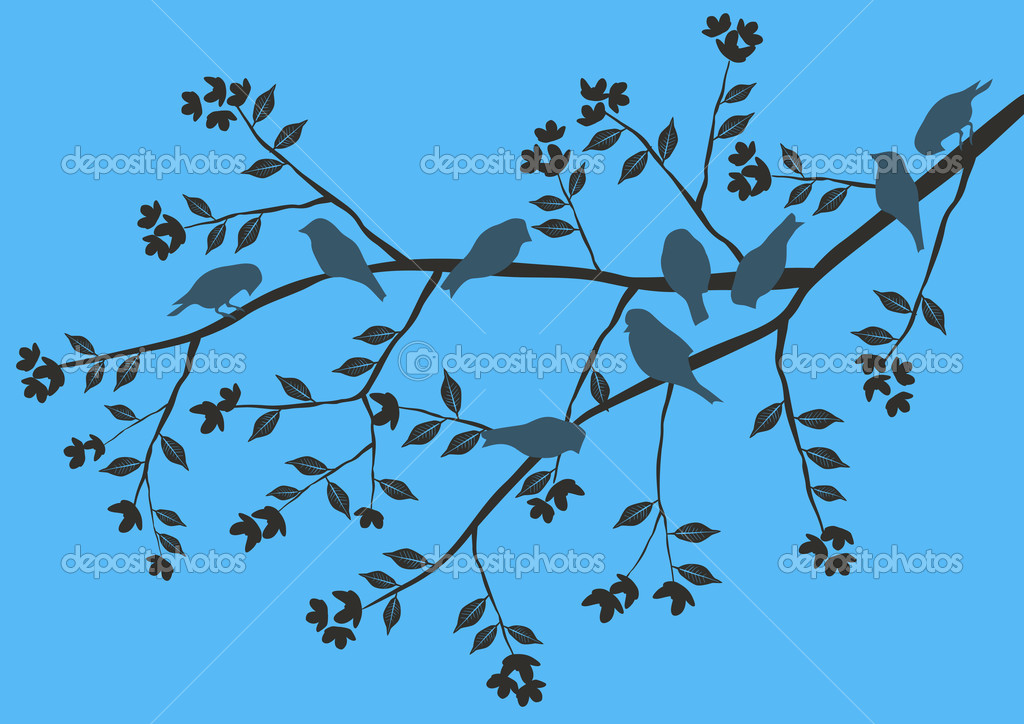 Floral Background, birds  Stock Vector #2881757