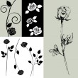 Card - vector collection with roses — Stockvectorbeeld