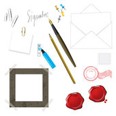 Pen head and other objects — Vector de stock