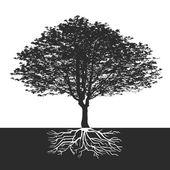 árvore abstrata com flores e espaço para um texto — Vetorial Stock