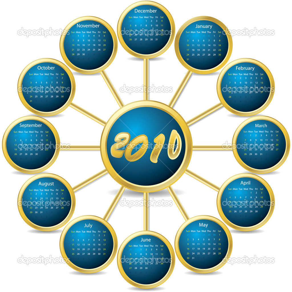 2010 connected calendar — Stock Vector #2699044