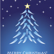 Blue christmas card with tree — Stock vektor
