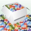 Decorations in and around the box - Stock Vector