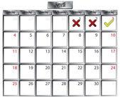 April tick and cross calendar — Stock Vector