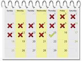 Carrapato e cruz calendário 2010 abril — Vetorial Stock