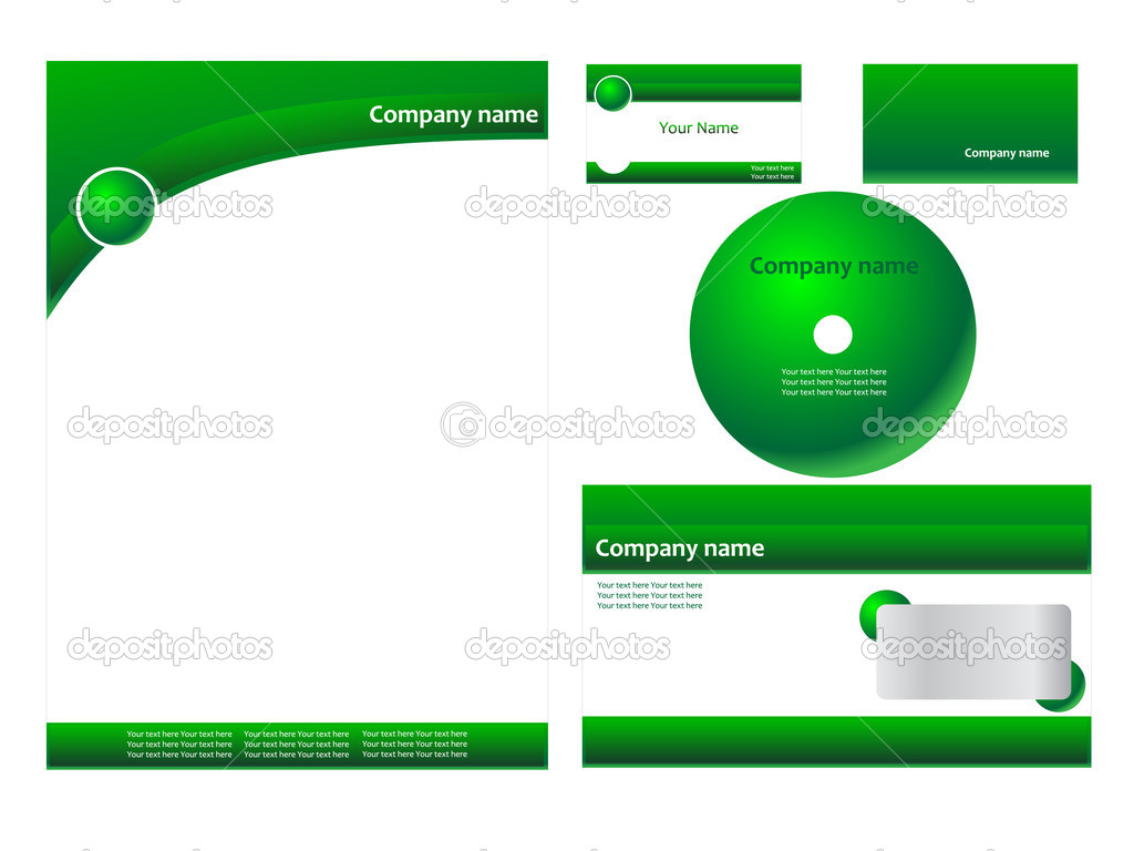 Green corporate identity with cd — Stock Vector #2713143
