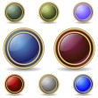 Color buttons with double gold rings — Stock Vector