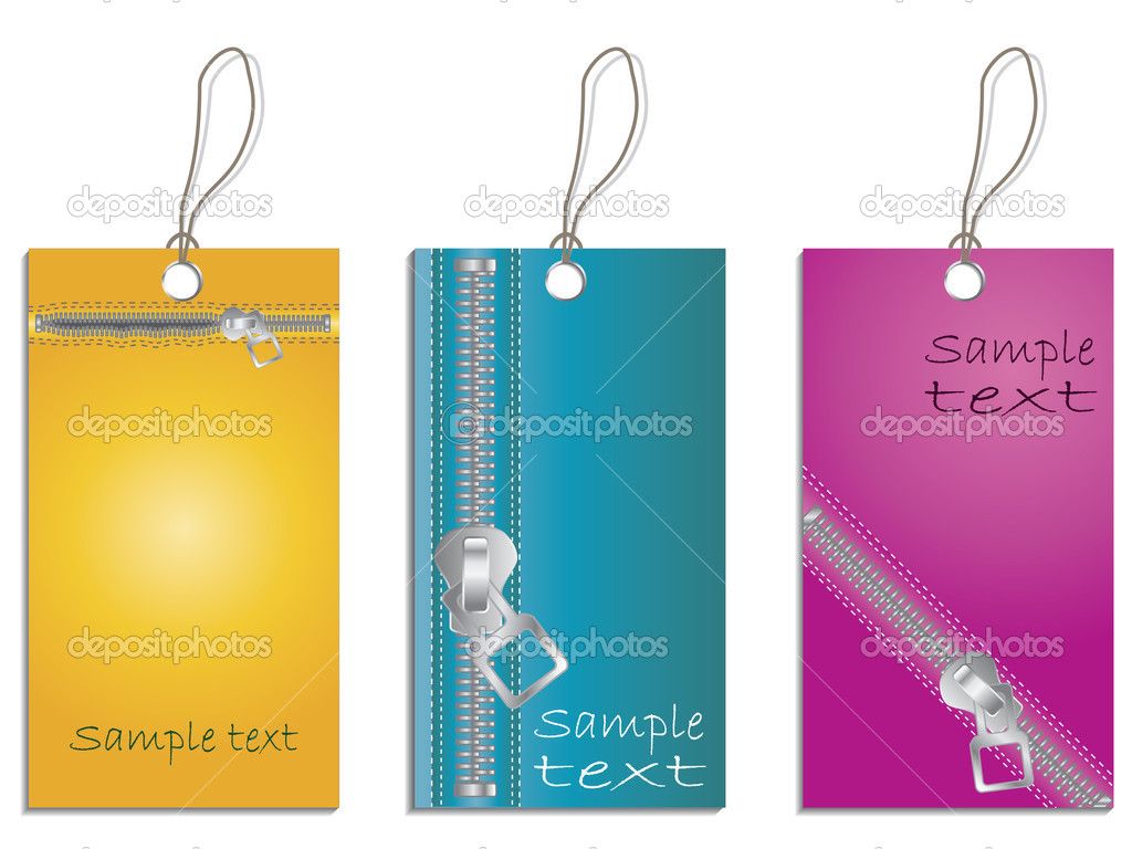 Cool zippered labels — Stock Vector #2730033