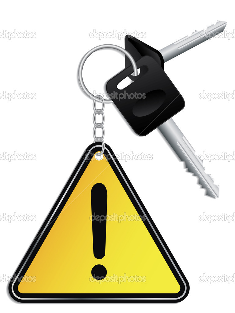 Keys and yellow warning keyholder  Stock Vector #2730247