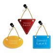Labels hanging on push-pins — Stock Vector