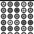 Wheel & Rim silhouettes — Stock Vector