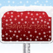 Snowy red sign — Stock Vector