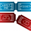 Various tickets in red and blue - Stock Vector