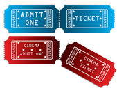 Various tickets in red and blue — Stock Vector