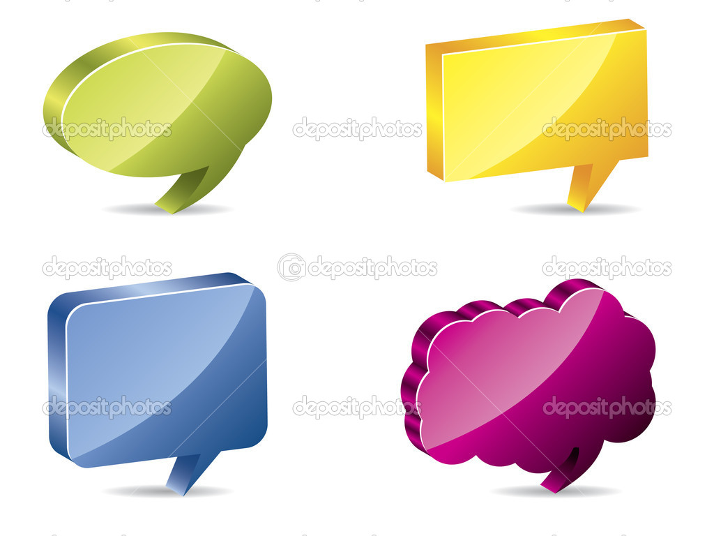 Various color 3d speech bubbles — Stock Vector #2770080
