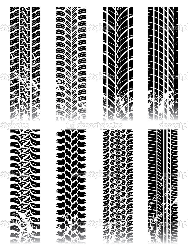 New set of tire track silhouettes  Stock Vector #2841808