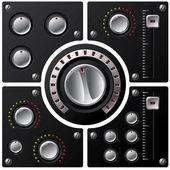 Boutons hi-fi avec 2 led — Vecteur