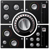 Hi-fi knobs with LED 2 — Vettoriale Stock