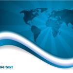 Blue map brochure — Stock Vector
